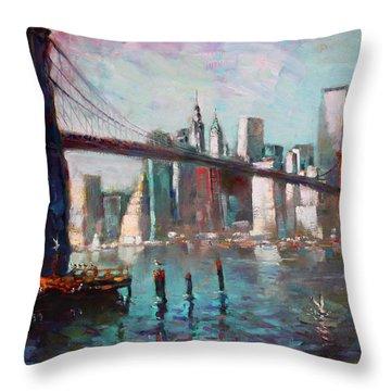 Brooklyn Bridge And Twin Towers Throw Pillow by Ylli Haruni