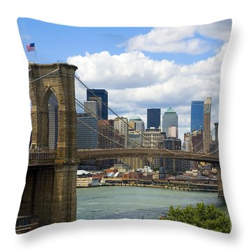 Brooklyn Bridge Throw Pillow by Diane Diederich