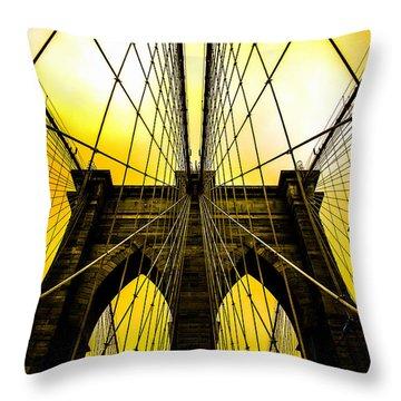 Brooklyn Bridge Yellow Throw Pillow by Az Jackson
