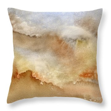 Brown And Blue Abstract Design Throw Pillow by Sharon Freeman