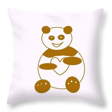 Brown Panda Throw Pillow by Ausra Huntington nee Paulauskaite