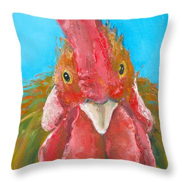 Brown Rooster On Blue Throw Pillow by Jan Matson