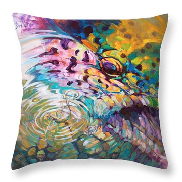 Brown Trout And Mayfly - Abstract Fly Fishing Art  Throw Pillow by Savlen Art