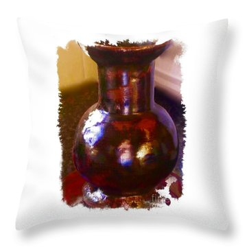 Brown Vase Design Throw Pillow by Joan-Violet Stretch