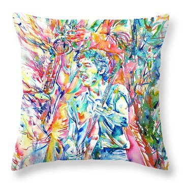 Bruce Springsteen And Clarence Clemons Watercolor Portrait Throw Pillow by Fabrizio Cassetta