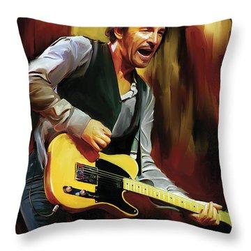 Bruce Springsteen Artwork Throw Pillow by Sheraz A