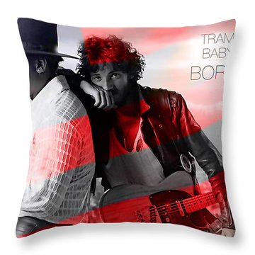 Bruce Springsteen Throw Pillow by Marvin Blaine