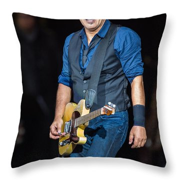 Bruce Springsteen Throw Pillow by Georgia Fowler