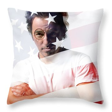 Bruce Springsteen Portrait Throw Pillow by Marvin Blaine
