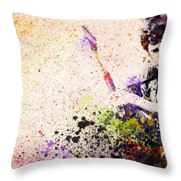 Bruce Springsteen Splats 2 Throw Pillow by Bekim Art
