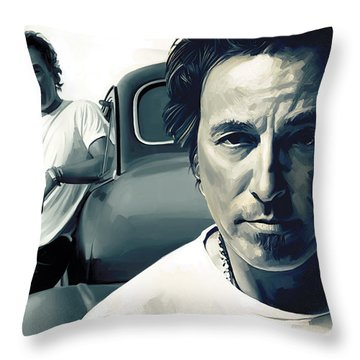 Bruce Springsteen The Boss Artwork 1 Throw Pillow by Sheraz A