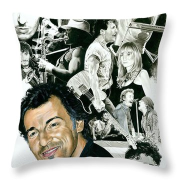 Bruce Springsteen Through The Years Throw Pillow by Ken Branch