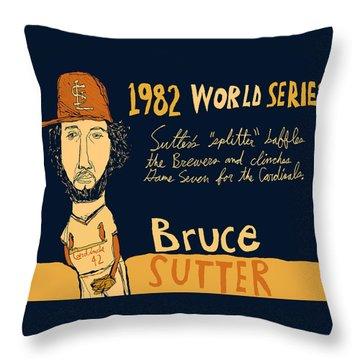 Bruce Sutter St Louis Cardinals Throw Pillow by Jay Perkins