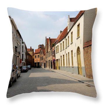 Bruges Side Street Throw Pillow by Carol Groenen