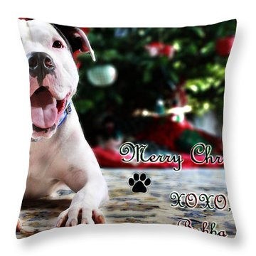 Bubba's First Christmas Throw Pillow by Shelley Neff