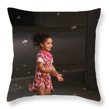 Bubbles Make The Happiest Moments Throw Pillow by Aimelle