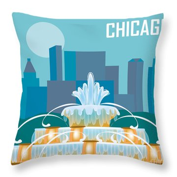 Buckingham Fountain Chicago Throw Pillow by Karen Young