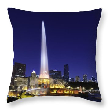 Buckingham Fountain Throw Pillow by Sebastian Musial