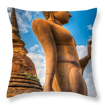 Buddha Statue Throw Pillow by Adrian Evans