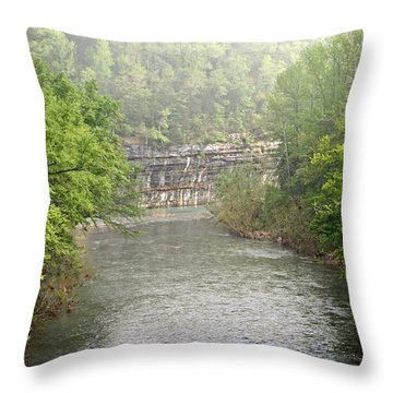 Buffalo River Mist Horizontal Throw Pillow by Marty Koch