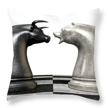 Bull And Bear Market Trend Chess Pieces Throw Pillow by Allan Swart