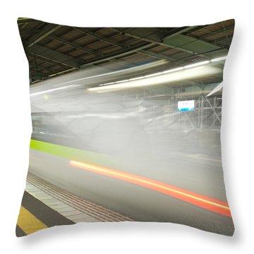 Bullet Train Throw Pillow by Sebastian Musial
