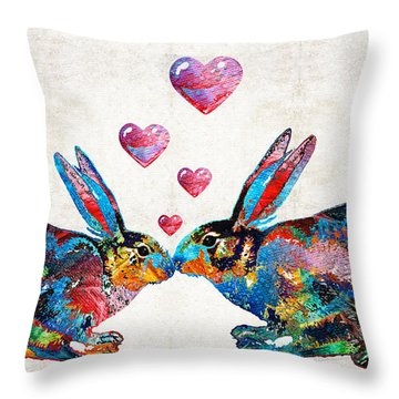 Bunny Rabbit Art - Hopped Up On Love - By Sharon Cummings Throw Pillow by Sharon Cummings