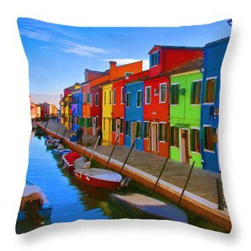 Burano Island In The Venetian Lagoon Throw Pillow by Michael Pickett