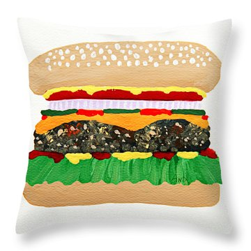 Burger Me Throw Pillow by Andee Design