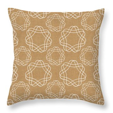 Burlap And White Geometric Flowers Throw Pillow by Linda Woods