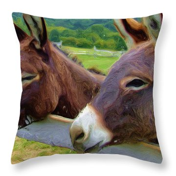 Burro Gang Throw Pillow by Ayse Deniz