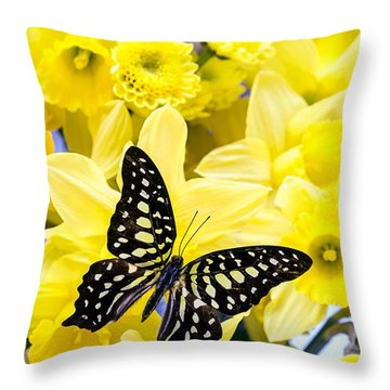 Butterfly Among The Daffodils Throw Pillow by Edward Fielding