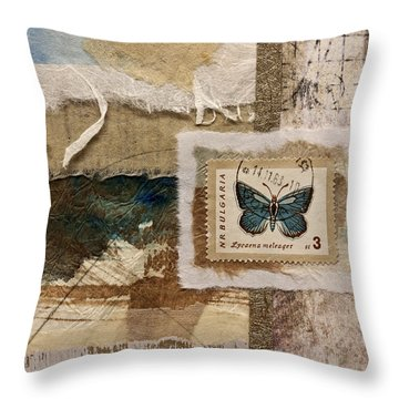 Butterfly And Blue Collage Throw Pillow by Carol Leigh