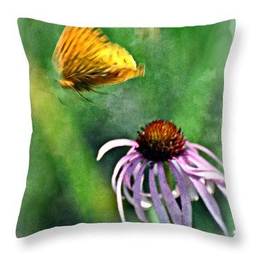 Butterfly In Flight Throw Pillow by Marty Koch