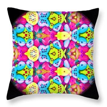 Butterfly Mandala Throw Pillow by Karen Buford