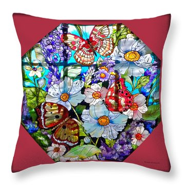 Butterfly Octagon Stained Glass Window Throw Pillow by Thomas Woolworth