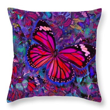 Butterfly Red Explosion Throw Pillow by Alixandra Mullins
