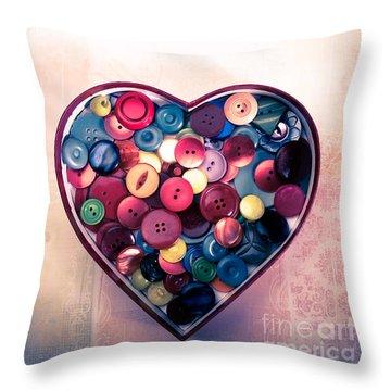 Button Love Throw Pillow by Jan Bickerton