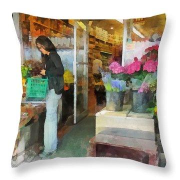 Buying Fresh Fruit Throw Pillow by Susan Savad