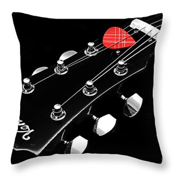 Bw Head Stock With Red Pick  Throw Pillow by Andee Design