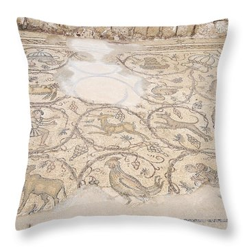 Byzantine Mosaic Depicting Animals And Hunting Scenes. Throw Pillow by Shay Levy