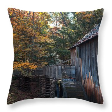 Cades Cove Mill Throw Pillow by Steve Gadomski