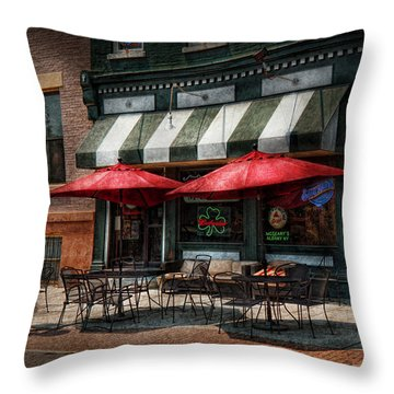 Cafe - Albany Ny - Mc Geary's Pub Throw Pillow by Mike Savad
