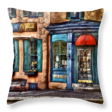 Cafe - Cafe America Throw Pillow by Mike Savad