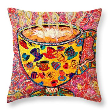 Cafe Latte - Coffee Cup With Colorful Coffee Cups Some Pink And Bubbles  Throw Pillow by Ana Maria Edulescu