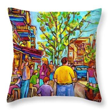 Cafes In Springtime Throw Pillow by Carole Spandau