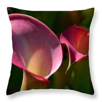 Cala Lilies Light And Shadow Throw Pillow by Sandi OReilly