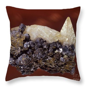 Calcite Crystal Throw Pillow by Hermann Eisenbeiss