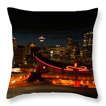 Calgary At Night Throw Pillow by Guy Whiteley