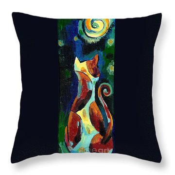 Calico Cat Abstract In Moonlight Throw Pillow by Genevieve Esson